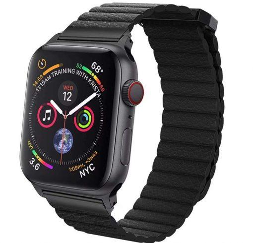 Kožený magnetický náramok pre Apple Watch - Čierny