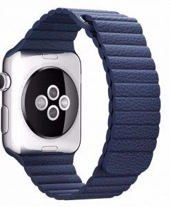 Kožený magnetický náramok pre Apple Watch - Modrý