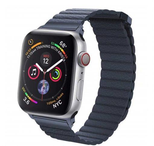 Kožený magnetický náramok pre Apple Watch - Modrá
