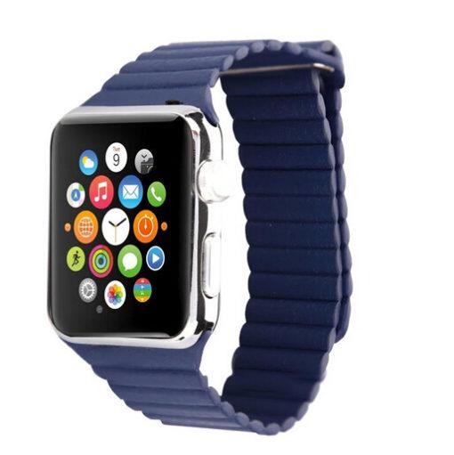 Kožený magnetický náramok pre Apple Watch modrá
