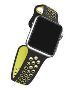 Športový gumený náramok pre Apple Watch Čierno zelený